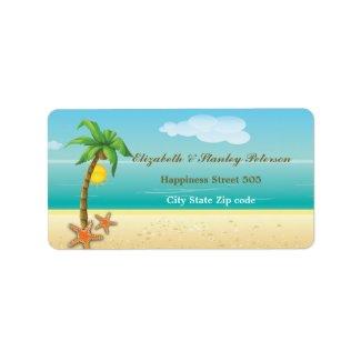 Palm tree & starfish tropical beach wedding label