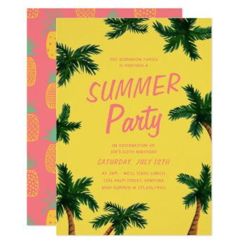 Palm Tree Summer Party Invitation by origamiprints at Zazzle