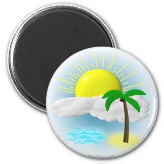 Palm Tree, Sun and Beach 2 Inch Round Magnet