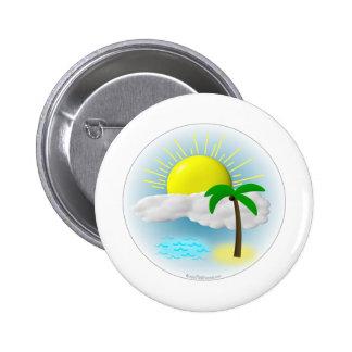 Palm Tree, Sun and Beach Pinback Button
