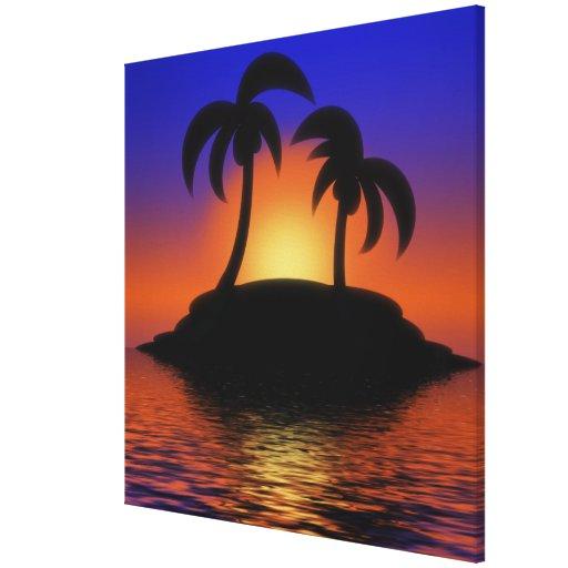 Palm Tree Sunrise Gallery Wrap Canvas