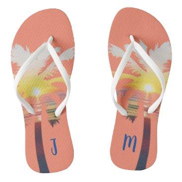 Palm Tree Sunrise Personalized Flip Flops