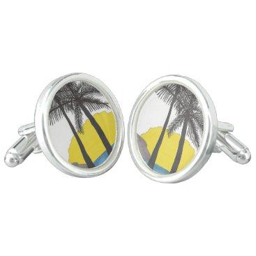 Beach Themed Palm Tree Sunrise Silhouette Cufflinks