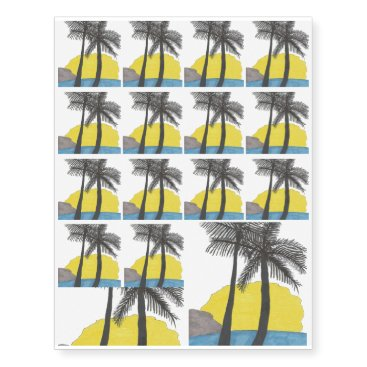 Beach Themed Palm Tree Sunrise Silhouette Temporary Tattoos