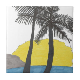Palm Tree Sunrise Tile