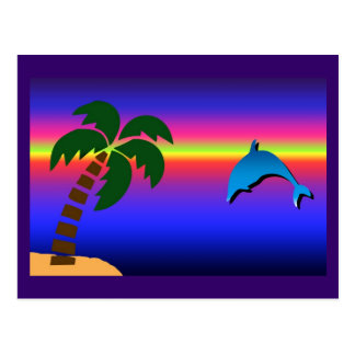 Palm Tree Sunset and Dolphin Postcard