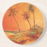 Palm Tree Sunset Beach Dunes Beverage Coasters
