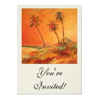 Palm Tree Sunset Beach Dunes Card