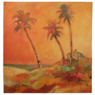 Palm Tree Sunset Beach Dunes Cloth Napkin