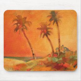 Palm Tree Sunset Beach Dunes Mouse Pad