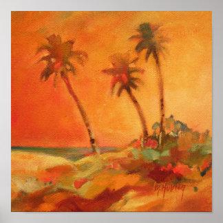 Palm Tree Sunset Beach Dunes Poster