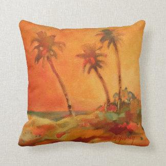 Palm Tree Sunset Beach Dunes Throw Pillow