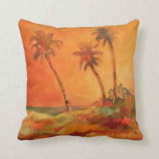 Palm Tree Sunset Beach Dunes Throw Pillows Zazzle
