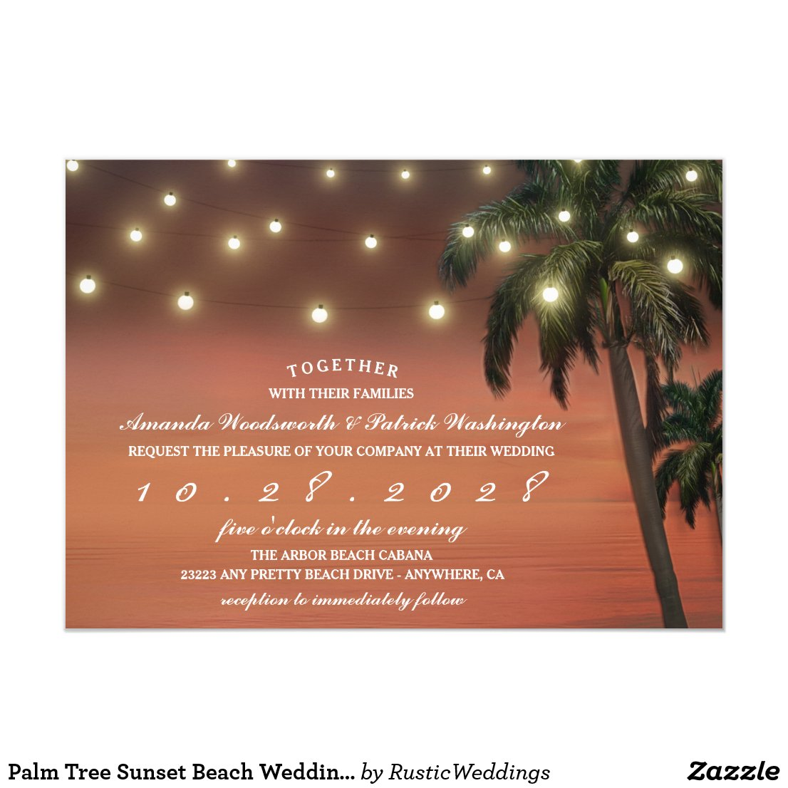 Palm Tree Sunset Beach Wedding Invitations