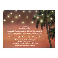 Palm Tree Sunset Beach Wedding Invitations