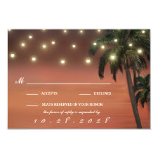 Palm Tree Sunset Beach Wedding RSVP Cards