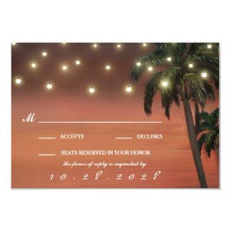 Palm Tree Sunset Beach Wedding RSVP Cards