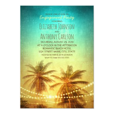 superdazzle Palm Tree Sunset Hawaiian Beach Engagement Party Card
