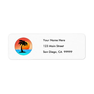 Palm Tree Sunset Return Address Label
