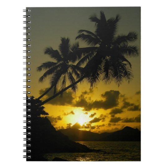 Palm tree sunset notebook