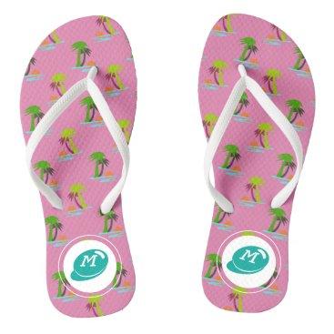 Beach Themed Palm Tree Sunset on Sea Pattern Customizable Flip Flops