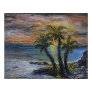 Palm tree sunset painting poster