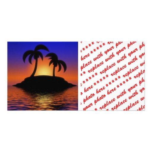 Palm Tree Sunset Photo Card Template