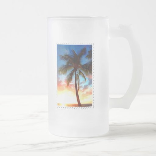 Palm Tree Sunset Stamp Frosted Glass Beer Mug