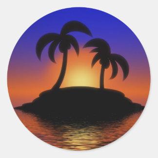 Palm Tree Sunset Classic Round Sticker