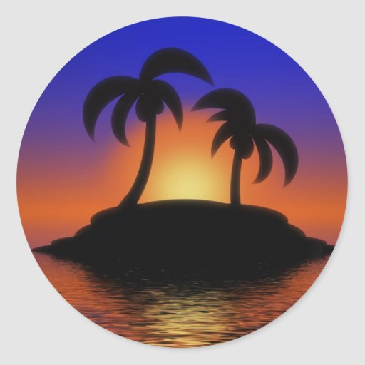 Palm Tree Sunset Round Stickers