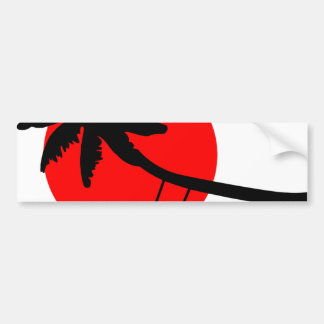 Palm tree sunset swings holiday freedom bumper sticker