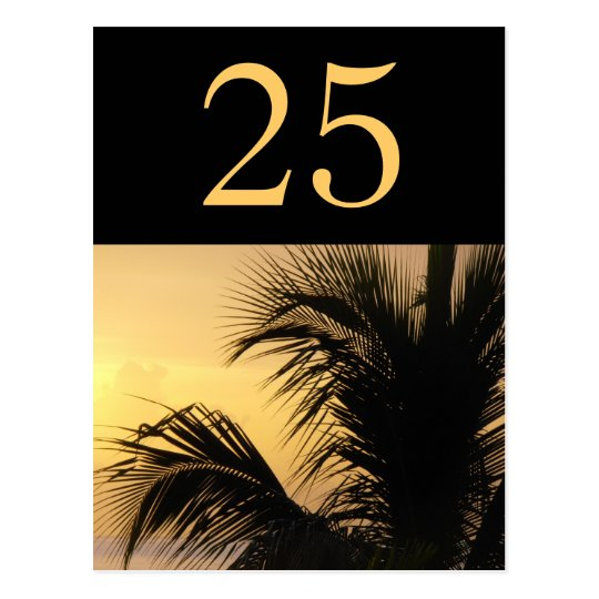 Palm Tree Sunset Table Number Card