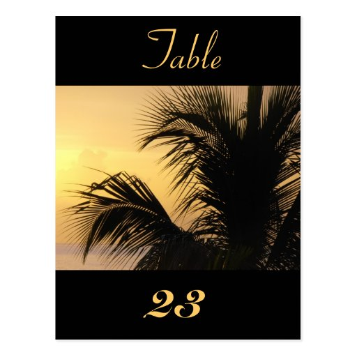 Palm Tree Sunset Table Number Card 1