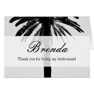 Palm tree thank you for being my bridesmaid cards