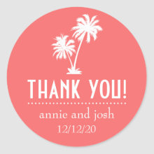 Palm Tree Thank You Labels (Coral) Stickers