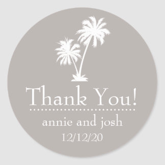 Palm Tree Thank You Labels (Sand Taupe Gray) Round Sticker