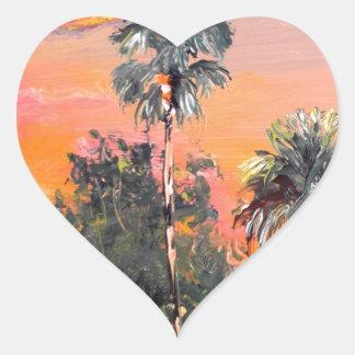 Palm Tree Tops - Fire sky Heart Sticker
