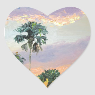 Palm Tree Tops Sunrise Heart Sticker