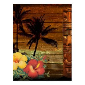 Palm Tree totem tropical Floral hibiscus Hawaiian Postcard