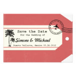 Palm Tree travel theme Luggage Tag Save the Date Custom Invite