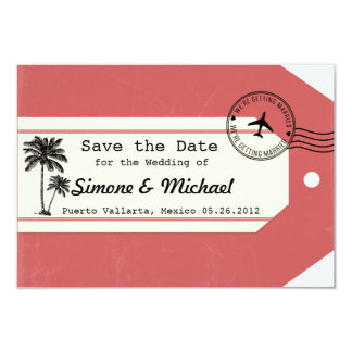 Palm Tree travel theme Luggage Tag Save the Date 3.5x5 Paper Invitation Card