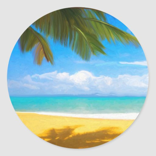 Palm Tree Tropical Beach Classic Round Sticker
