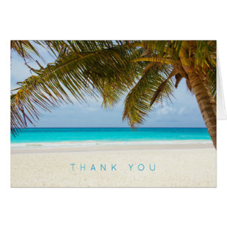Palm Tree Tropical Beach Thank You Message Note Card