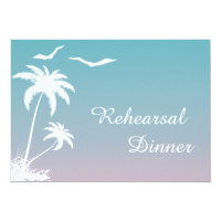 Palm tree tropical beach wedding rehearsal dinner card