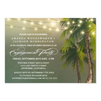 Palm Tree Tropical Engagement Party Invitations