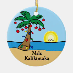 palm tree tropical hawaiian christmas ornament - Palm Tree Christmas Decorations