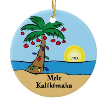 Christmas Themed Palm Tree Tropical Hawaiian Christmas Ornament