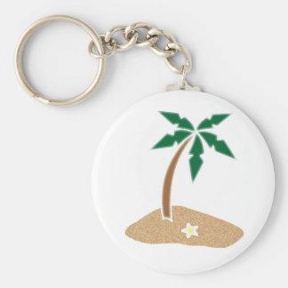 Palm Tree Tropical Island Beach Cartoon Keychain