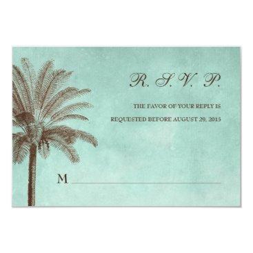 beckynimoy Palm Tree Tropical Wedding RSVP Response Card