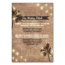 Palm Tree Vintage Beach Wedding Enclosure Cards